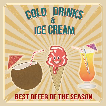 bebidas frias: Las bebidas fr�as y el cartel de helados en el estilo vintage