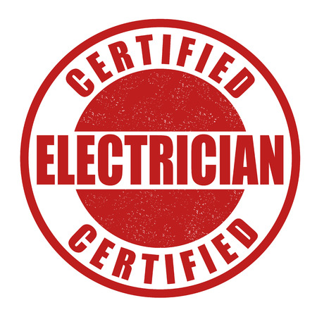 Certified electrician grunge rubber stamp on white