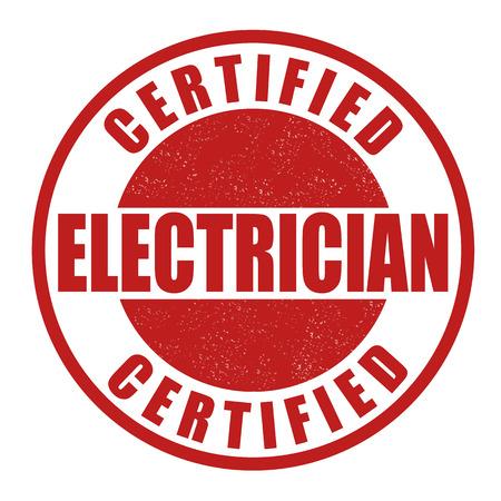 Timbre en caoutchouc grunge électricien certifié sur blanc
