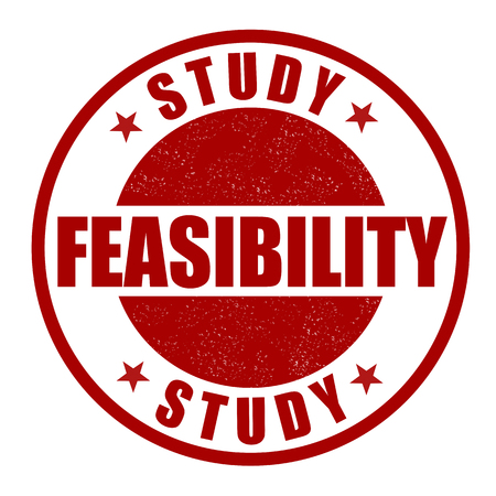 evaluating: Feasibility study grunge rubber stamp on white Illustration