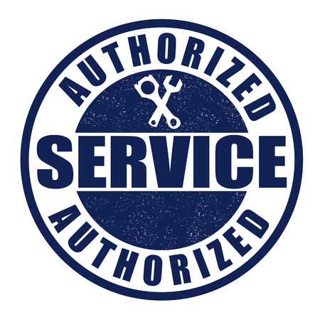 authorized: Authorized service grunge rubber stamp on white