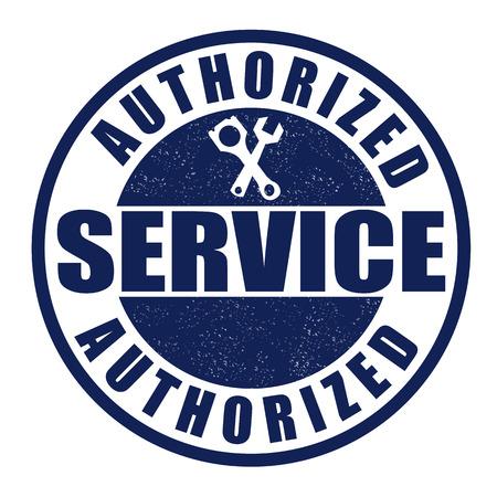 old service station: Servizio autorizzato grunge timbro di gomma su bianco Vettoriali