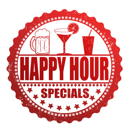 happy hour: Happy hour specials grunge rubber stamp on white