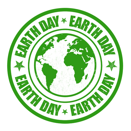 Green grunge rubber stamps with the text earth day written inside the stamp Vector