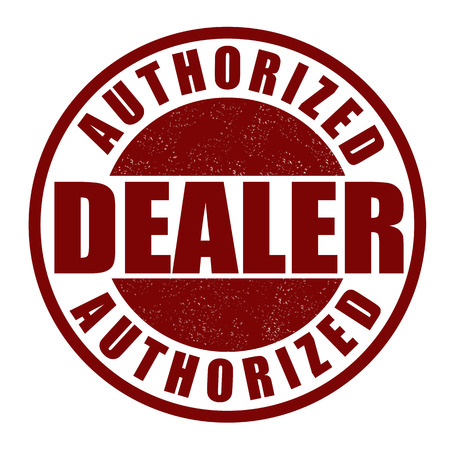 dealer: Authorized dealer grunge rubber stamp on white