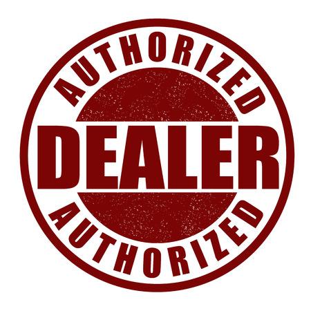 autorizacion: Distribuidor autorizado grunge sello de goma en blanco Vectores