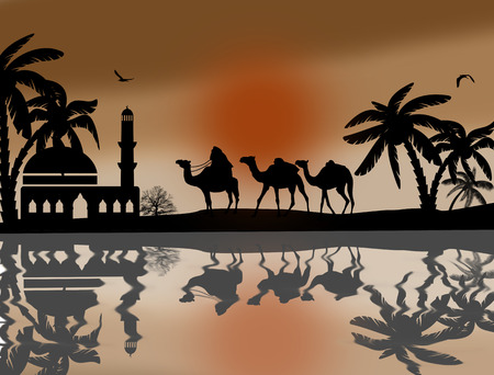 Bedouin camel caravan in wild africa landscape near water on sunset Vector