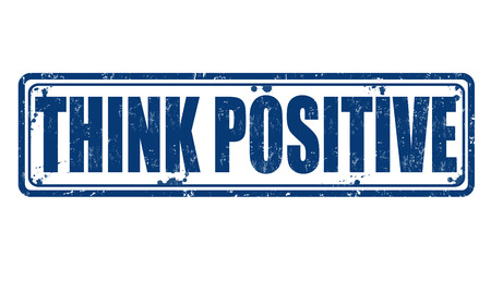 Think positive grunge rubber stamp on white Vector