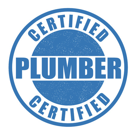 Certified plumber grunge rubber stamp on white
