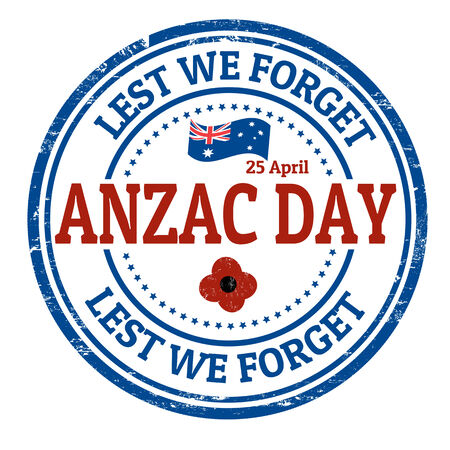 Anzac Day  grunge rubber stamp on white illustration