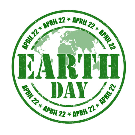 world earth day: Earth Day grunge rubber stamp on white illustration