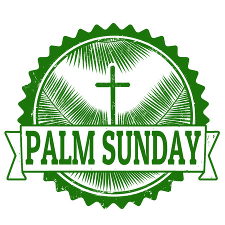 pasqua cristiana: Domenica delle Palme Grunge timbro di gomma su bianco illustrazione Vettoriali