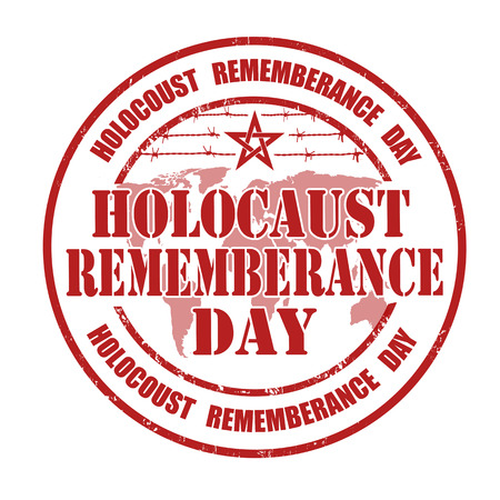 jews: Holocaust rememberance day grunge rubber stamp on white illustration
