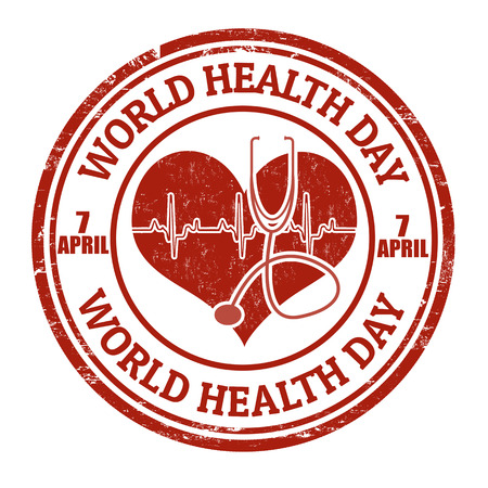 World health day grunge rubber stamp on white illustration Vector