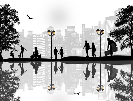 water reflection: Vector design background with beautiful landscape and people silhouette with reflection on water