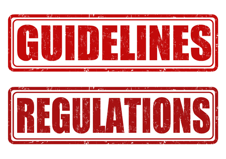guidelines: Guidelines and regulations grunge rubber stamps on white, vector illustration Illustration