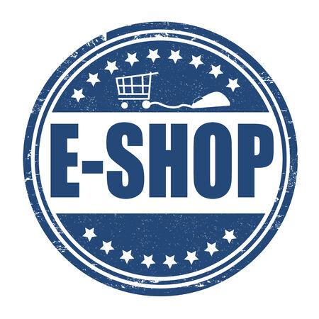 e auction: E-shop grunge rubber stamp on white, vector illustration