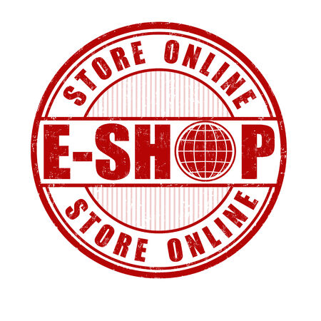 e auction: E-shop, store online grunge rubber stamp on white, vector illustration