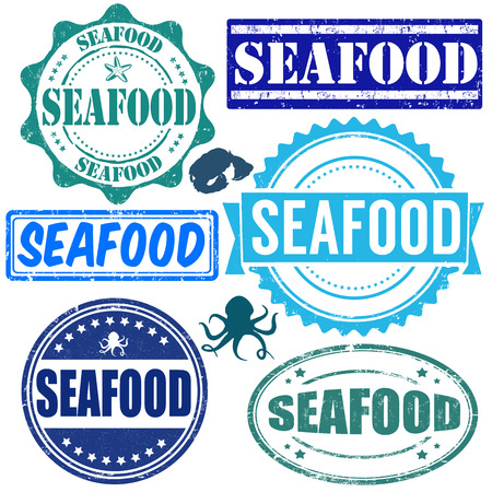 Set of grunge rubber stamps with the word seafood written inside, vector illustration Vector
