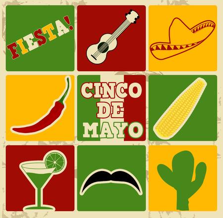 Conjunto de elementos de vacaciones y los iconos en el cartel de la vendimia con el 05 de mayo (Cinco de Mayo), ilustración vectorial