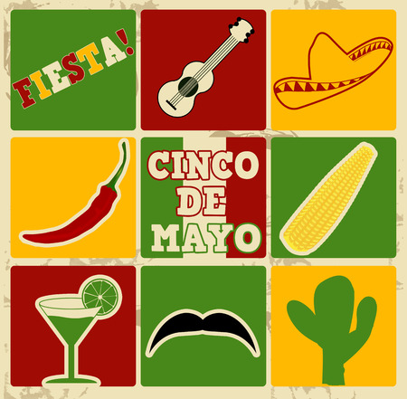 Set of holiday elements and icons on vintage poster with 5th of May  (Cinco de Mayo), vector illustration