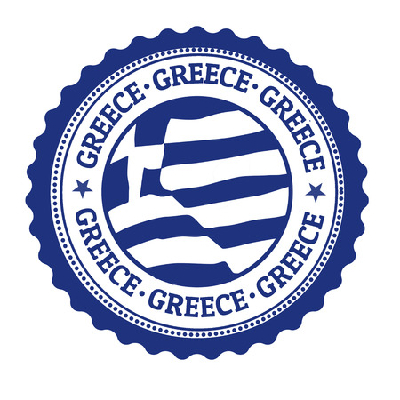 Stamp or label with Greek Flag and the word Greece written inside, vector illustration Illustration