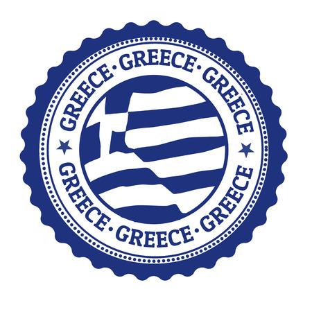 Stempel oder Aufkleber mit der griechischen Flagge und dem Wort Griechenland geschrieben innen, Vektor-Illustration
