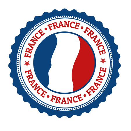 identifier: Stamp or label with French Flag and the word France written inside, vector illustration