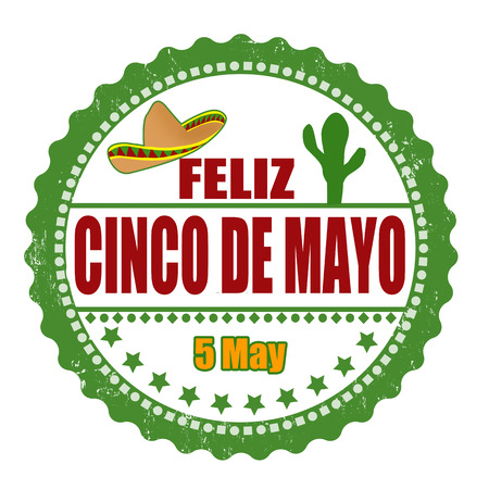 cactus: Happy 5th of May in spanish language (Feliz Cinco de Mayo) grunge rubber stamp on white, vector illustration