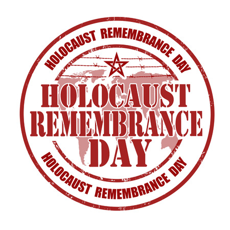 Holocaust remembrance day grunge rubber stamp on white, vector illustration
