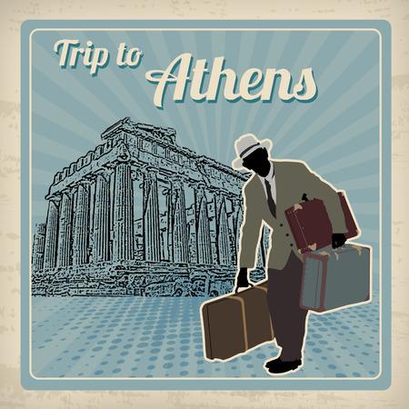 Viaggio ad Atene poster in stile vintage, illustrazione vettoriale