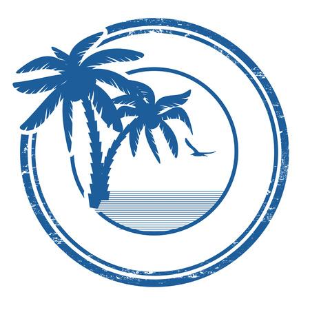 Tropical grunge sello de goma con la palma y el espacio para el texto en blanco, ilustración vectorial