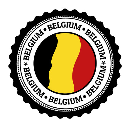 Stamp or label with Belgium Flag and the word Belgium written inside Illustration