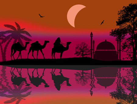 Abstract colorful background with bedouin riding camel during the red night Vector