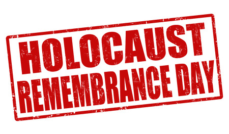 remembrance day: Olocausto timbro di gomma giorno ricordo grunge su bianco