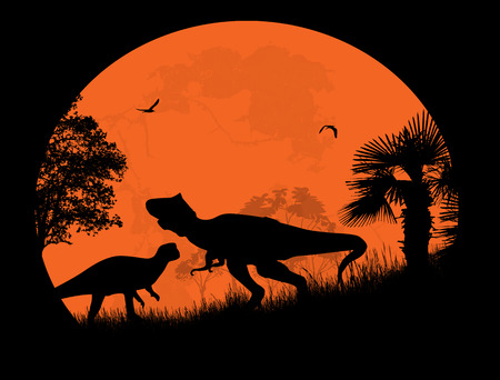 mesozoic: Dinosaurs Silhouettes - Tyrannosaurus T-Rex in front a full moon