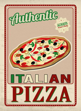 Authentic Italian Pizza vintage grunge poster Vector