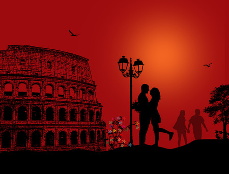 marriage proposal: Couple silhouette in love in front of Colosseum in Rome on red night Illustration