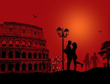 Silhouet van het paar in liefde in voorkant van het Colosseum in Rome op rood nacht Vector Illustratie