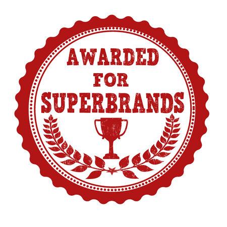 awarded: Awarded for superbrands grunge rubber stamp on white