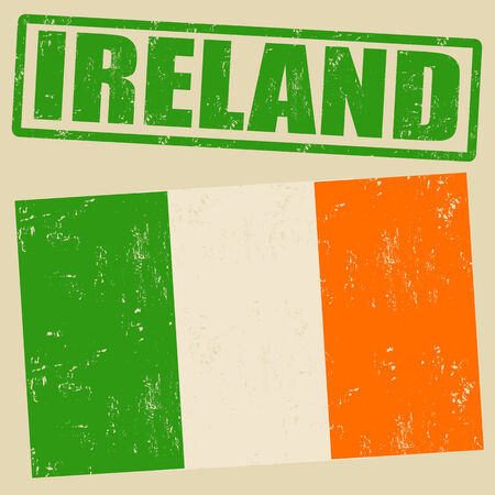 irish banners: Ireland grunge flag on vintage background and ireland rubber stamp Illustration