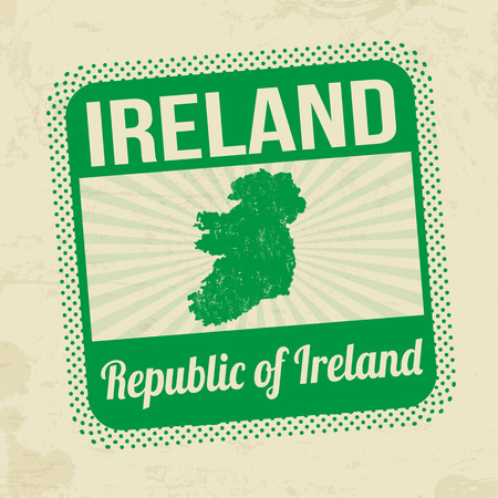 ireland map: Grunge rubber stamp with the name and map of Ireland on vintage background Illustration