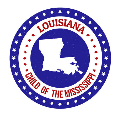 mississippi: Vintage stamp with text Child of the Mississippi written inside and map of Louisiana Illustration