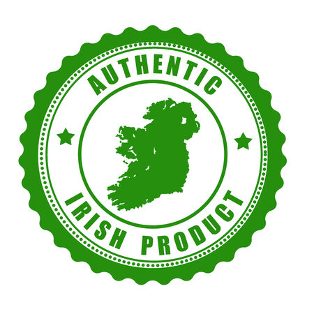 ireland map: Authentic irish product stamp or label with map of Ireland inside