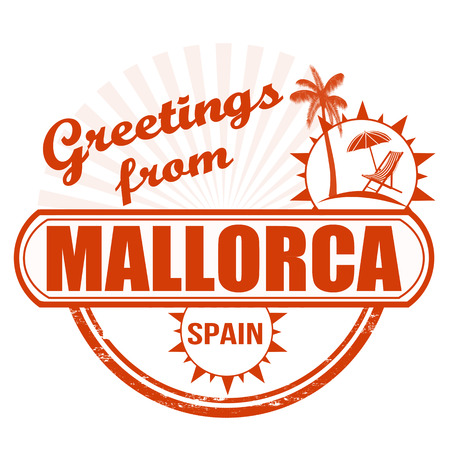Grunge rubber stamp with text Greetings from Mallorca