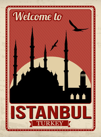 Blue mosque from Istanbul in vitage style poster Vector