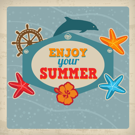 Vintage Summer greeting card with dolphin, hibiscus and starfishes and place for text Vector