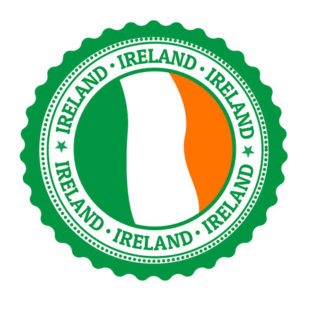 ireland flag: Stamp or label with Ireland Flag and the word Ireland written inside Illustration