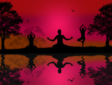 Yoga meditation silhouettes at red sunset landscape near water Stock Vector - 26864723