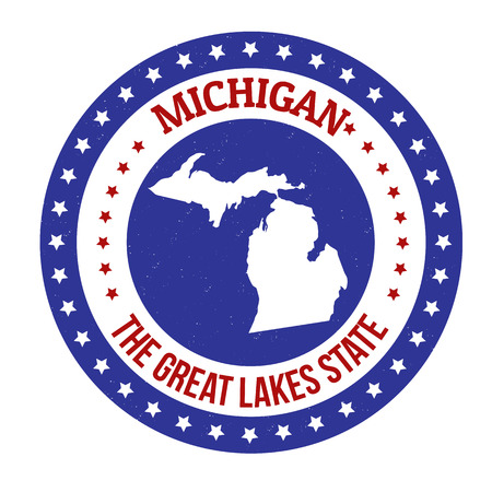 the great lakes: Vintage stamp with text The Great Lakes State written inside and map of Michigan